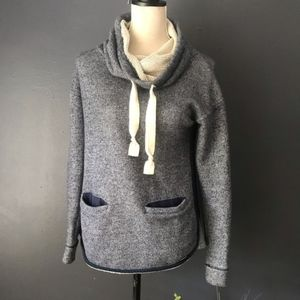 Roxy Gray Funnel Neck Knit Sweater with pockets